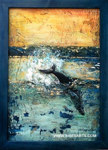 """RORQUAL À BOSSE 2005 / 24"""" x 36"""" /Acrylique et plâtre sur masonite"""