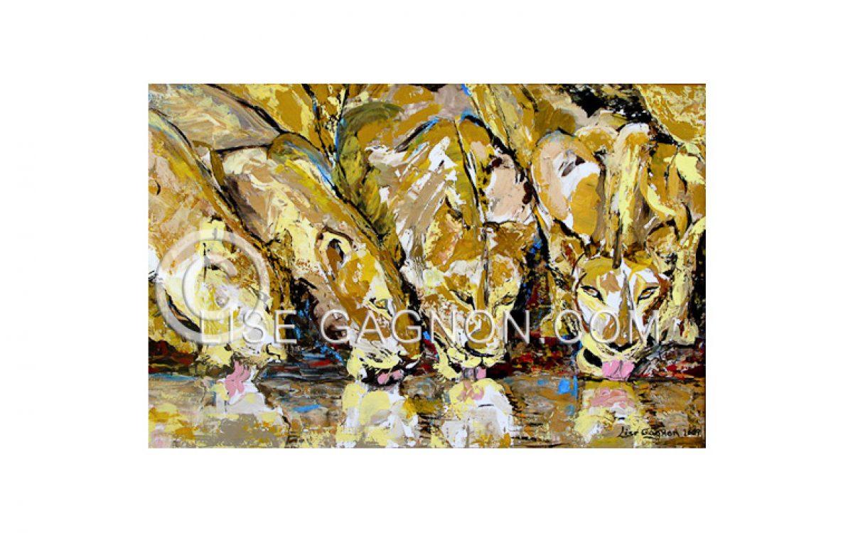 """LES LIONNES 2009 / 36"""" x 24"""" / Acrylique sur toile / Collection privée"""