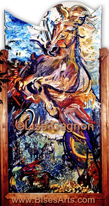 """CHEVAUX 1995, 48"""" X 96"""" / Acrylique plexiglass, cadre de merisiers / Collection privée"""