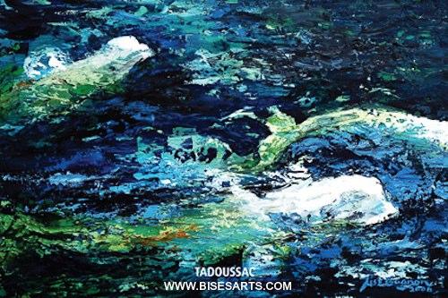 """Bélugas 2006 / 24"""" x 36"""" / Acrylique sur toile / Collection privée"""