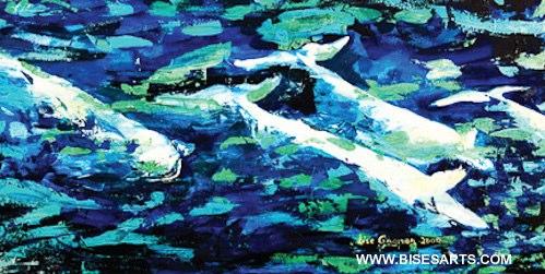 """BÉLUGAS DU SAGUENAY 2009 / 24"""" x 48""""/ Acrylique sur toile / Collection privée"""