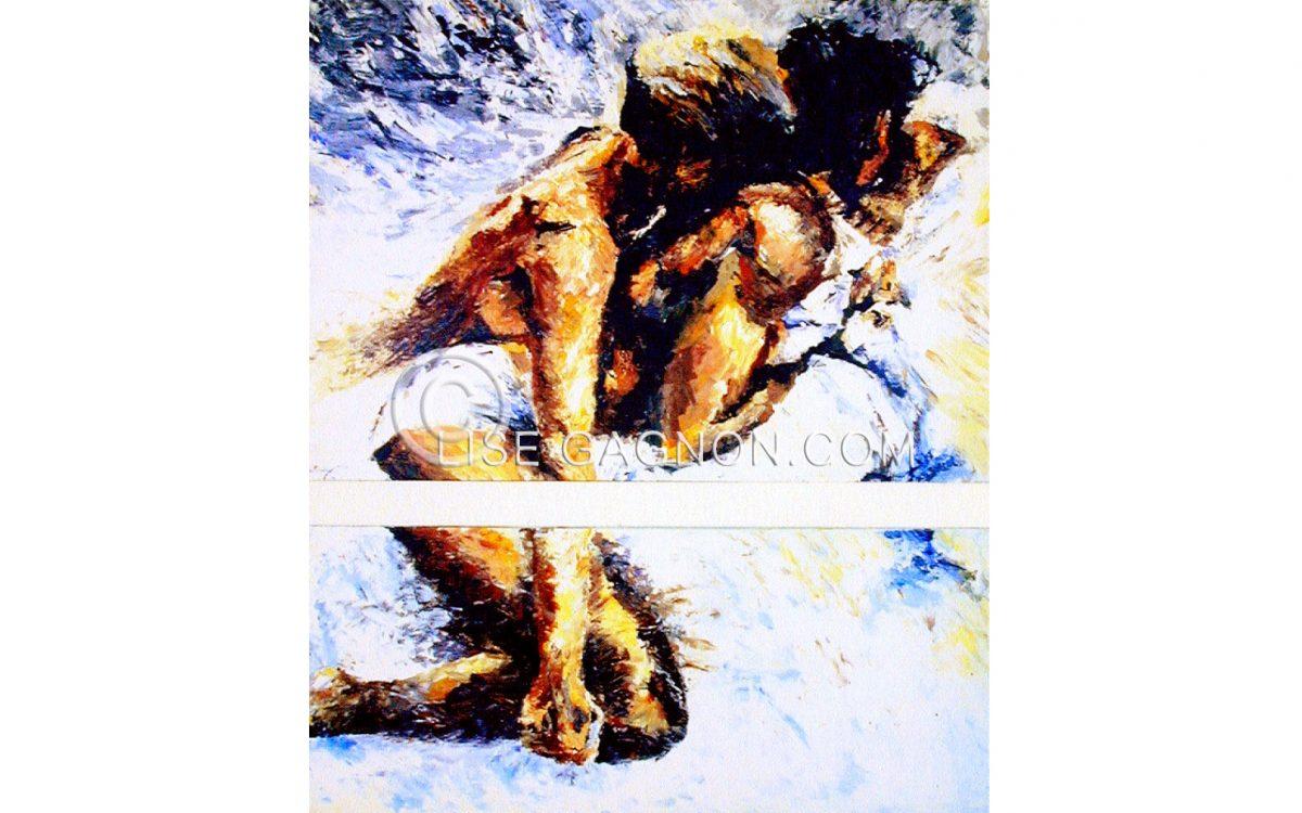 """Les Amoureux 1985 / 55"""" x 63"""" x 2"""" / Acrylique sur toile / Collection privée"""