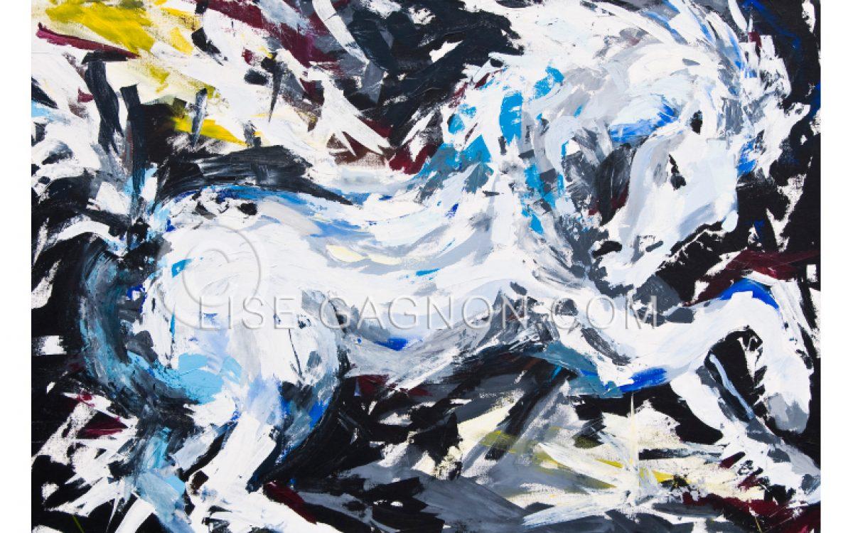 """MON ÉTALON 1985 / 38"""" x 56"""" / Acrylique sur toile / Collection privée"""